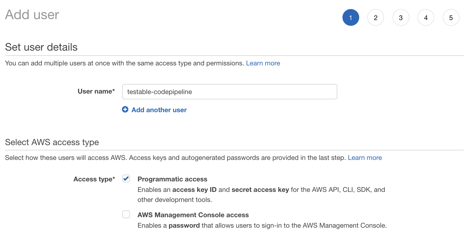 Add IAM User for AWS CodePipeline